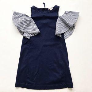 Crewcuts navy/stripe cold shoulder dress EUC 10Y